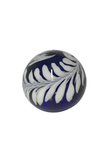 Vintage Blue & White Glass Paperweight