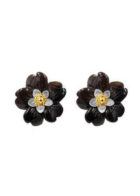 Onyx Flower Earring