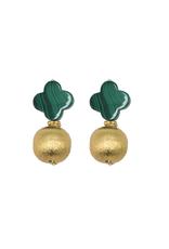 Malachite Quatrefoil Earring