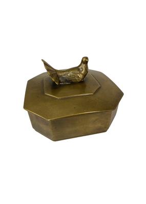 Vintage Brass Box with Bird Finial