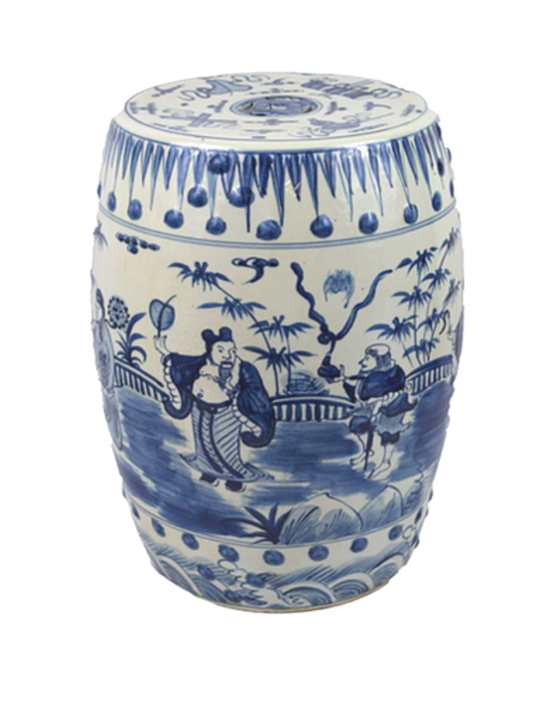 Blue & White Ceramic Garden Stool