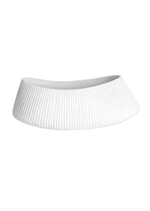 Ceramic White Ribbed Vase