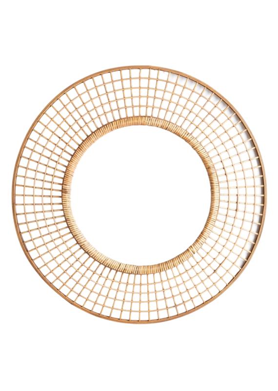 Open Weave Round Rattan Mirror