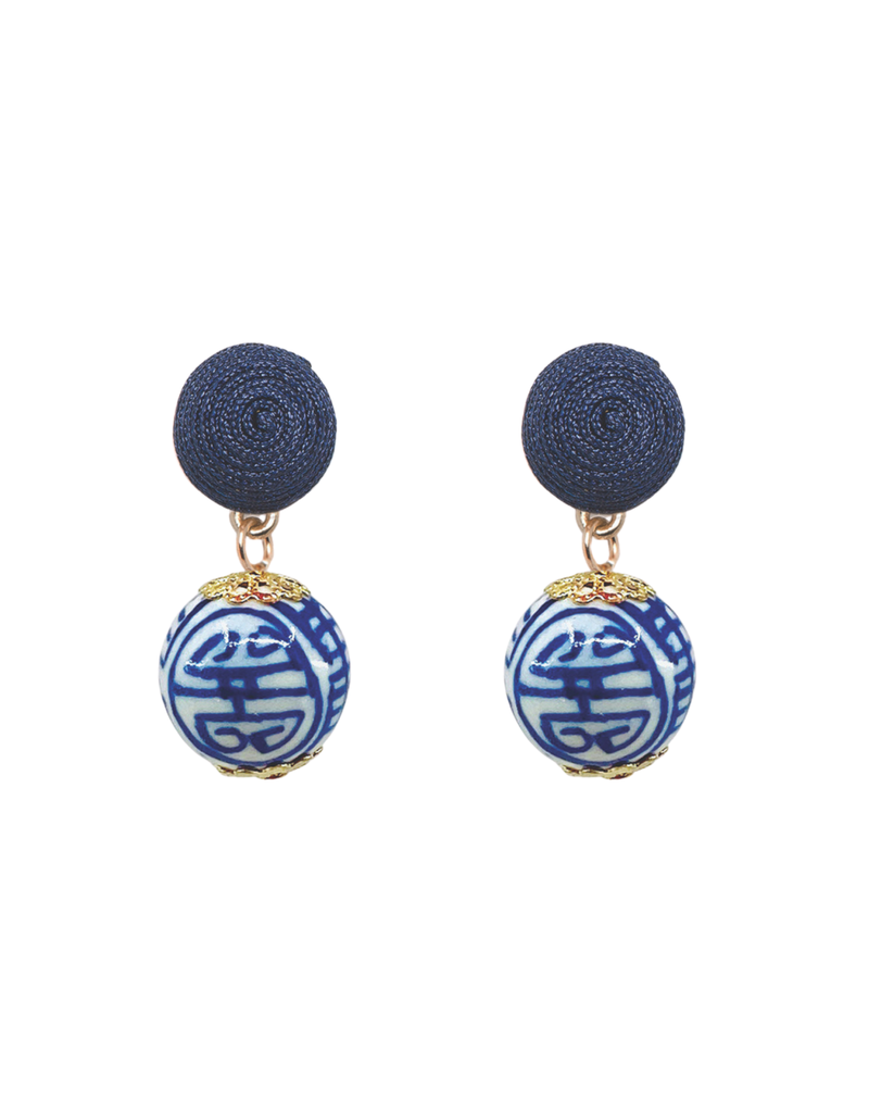 Blue & White Chinoiserie Drop Earring