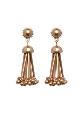 Gold Bead & Rod Dangle Earrings