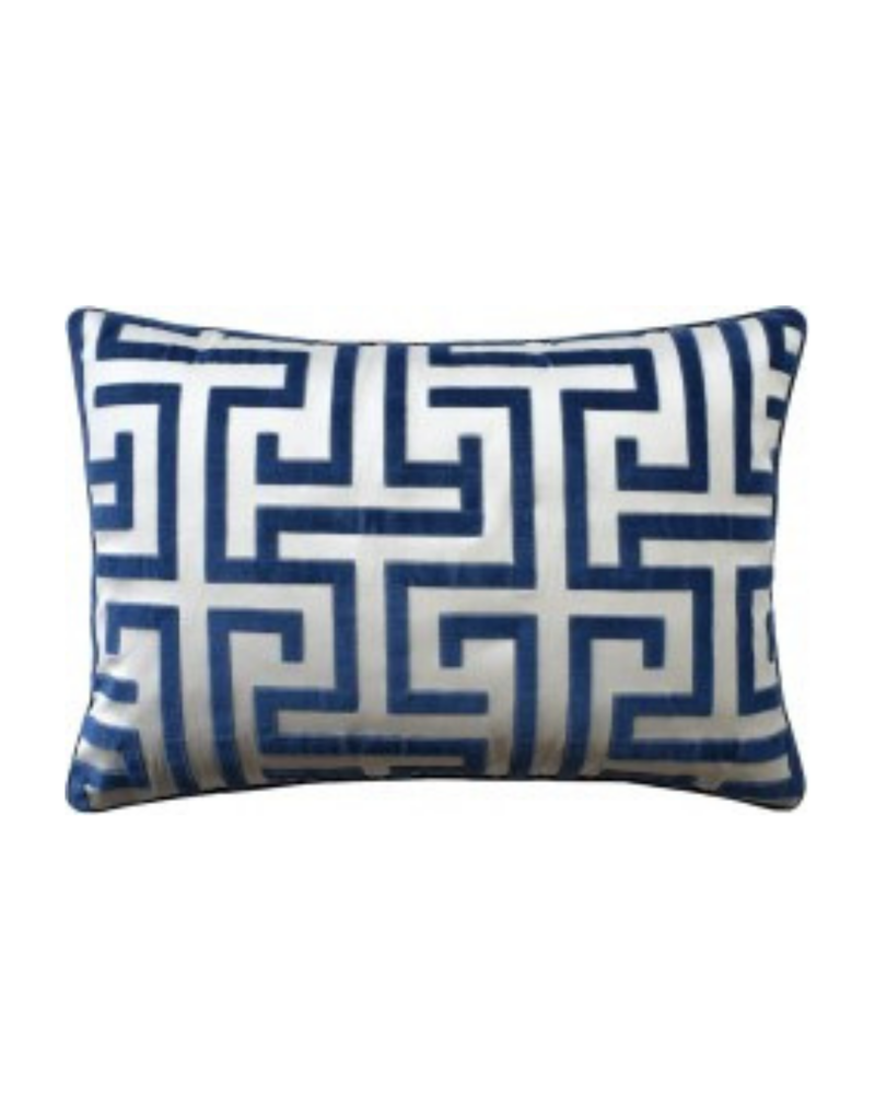 Blue Velvet Greek Key Lumbar Pillow
