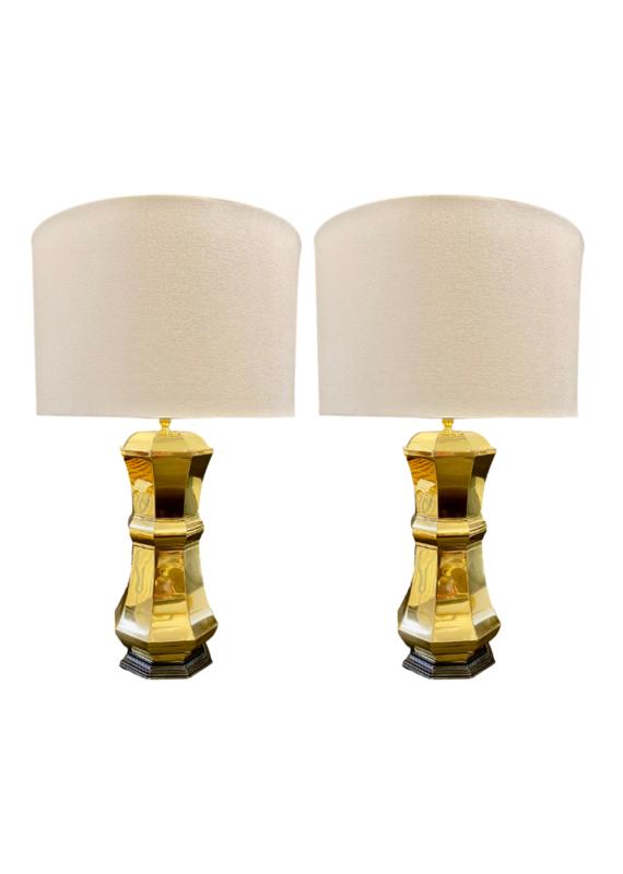 Vintage Pair of Brass Octagonal Column Lamps