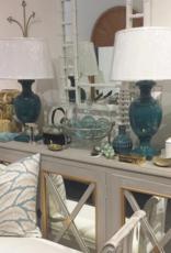 Vintage Pair of Teal Ceramic Urn Lamps