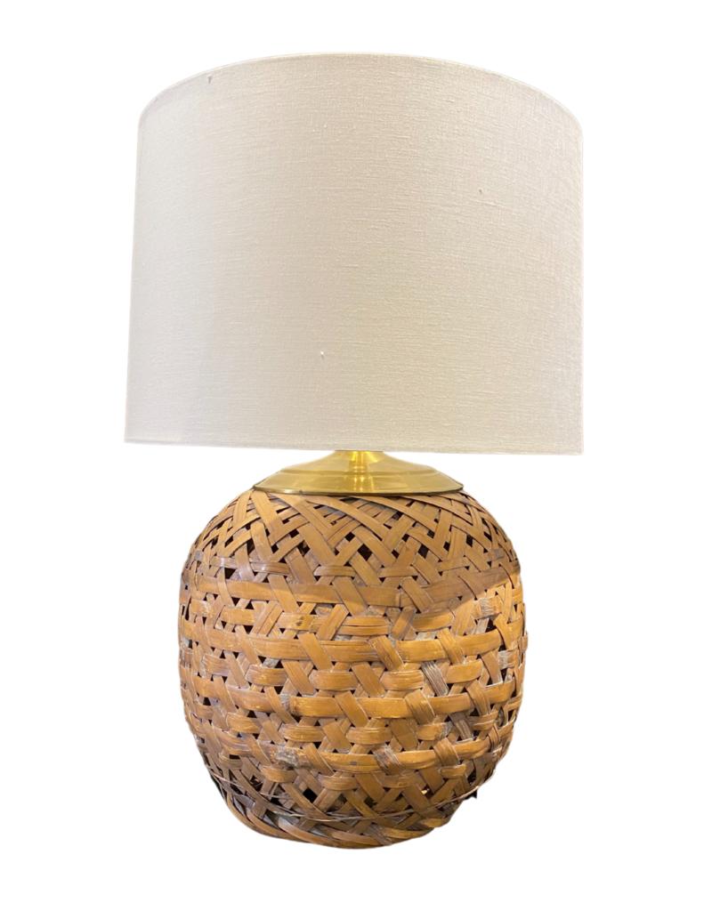 Vintage Wicker & Brass Globe Lamp