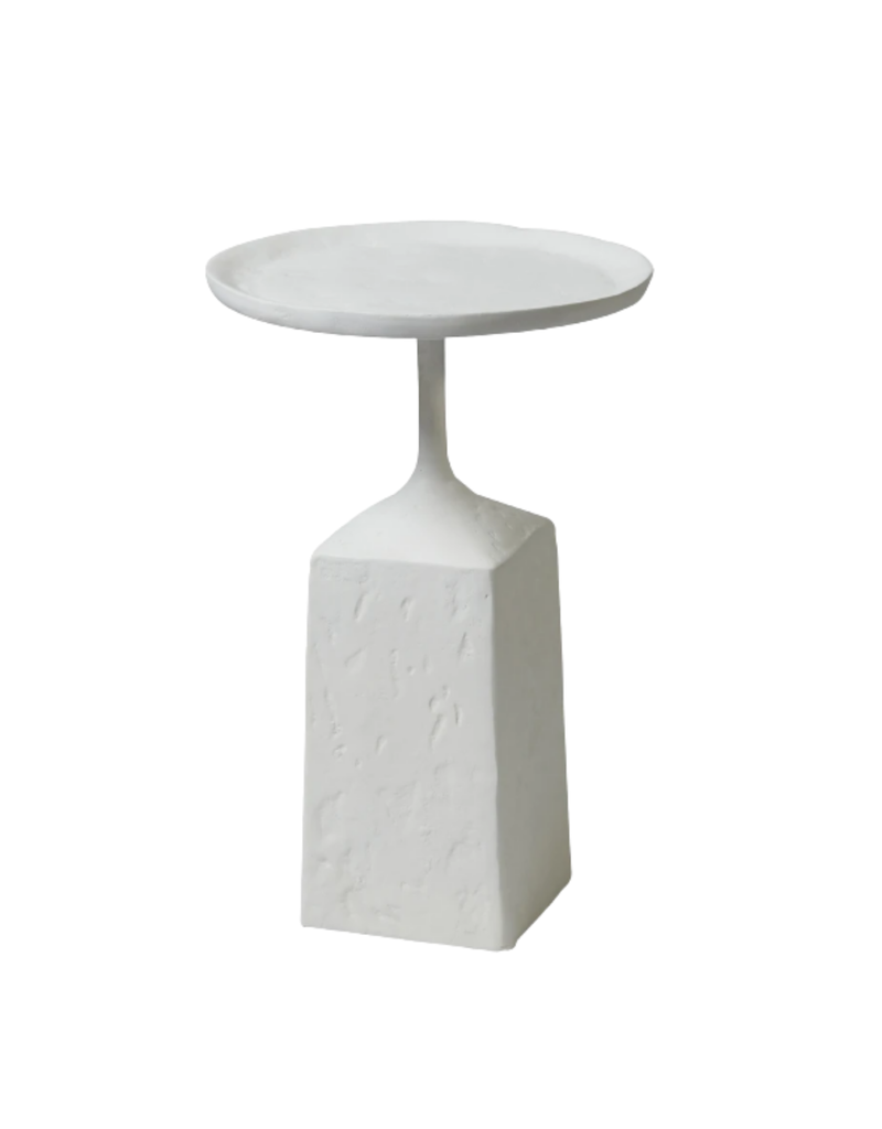 Organic White Pedestal Accent Table