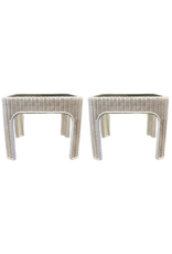 Vintage Pair of White Wicker Side Tables