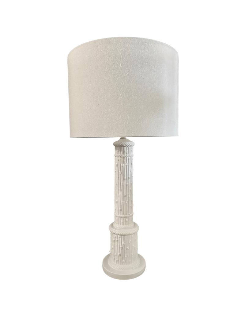 Vintage White Bamboo Ceramic Lamp