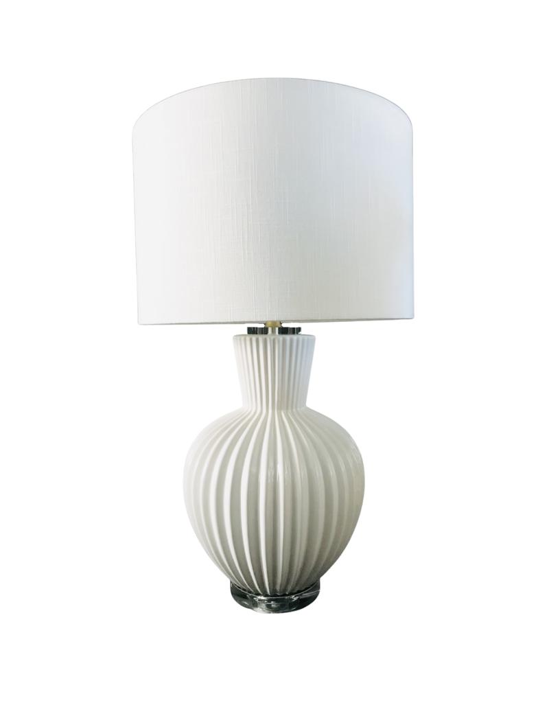 White Ceramic Ribbed Lamp
