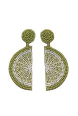 Beaded Lime Slice Earrings