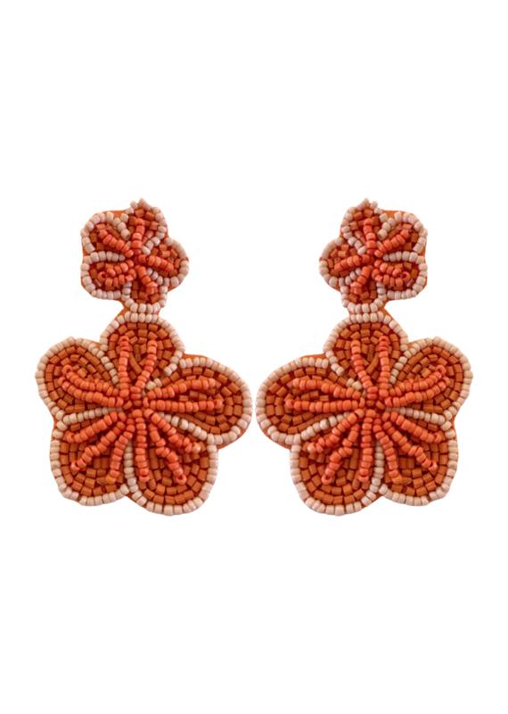 Beaded Coral Flower Earring