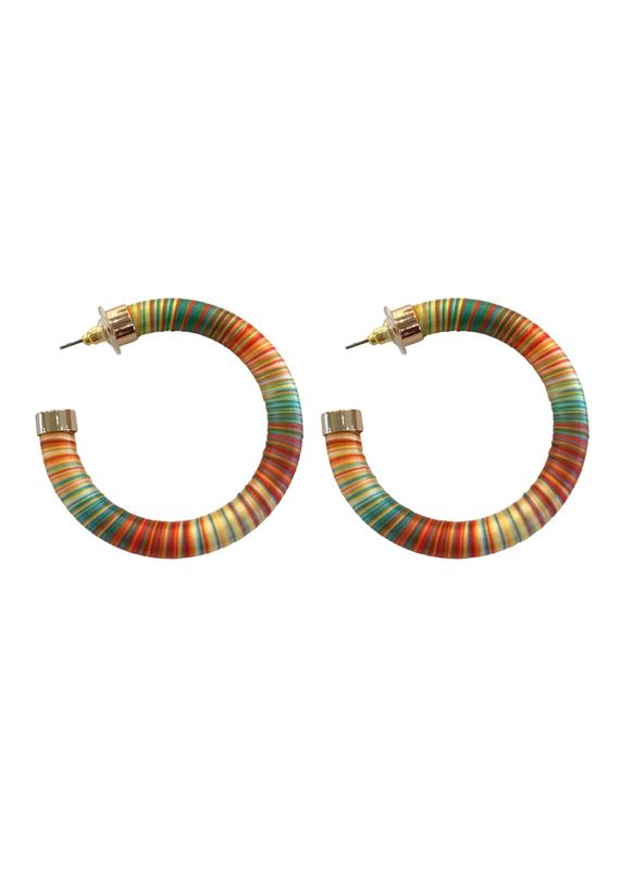 Bright Orange Stripe Hoop Earring
