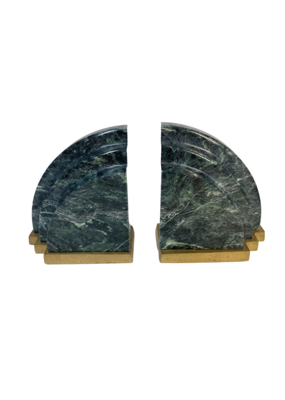 Vintage Green Marble & Brass Bookends