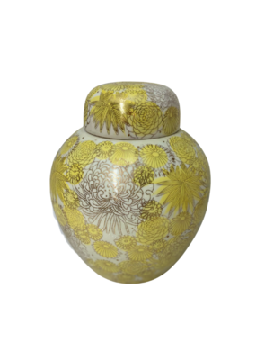 Vintage Yellow Floral Urn