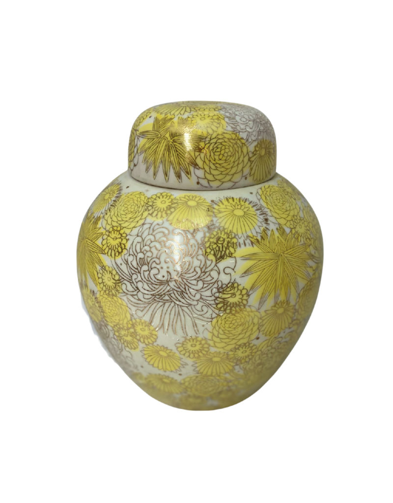 Vintage Yellow Floral Urn