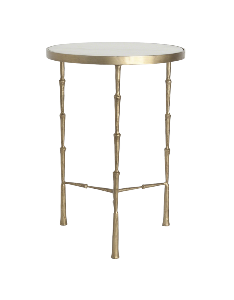 Spike Accent Table with White Marble Top
