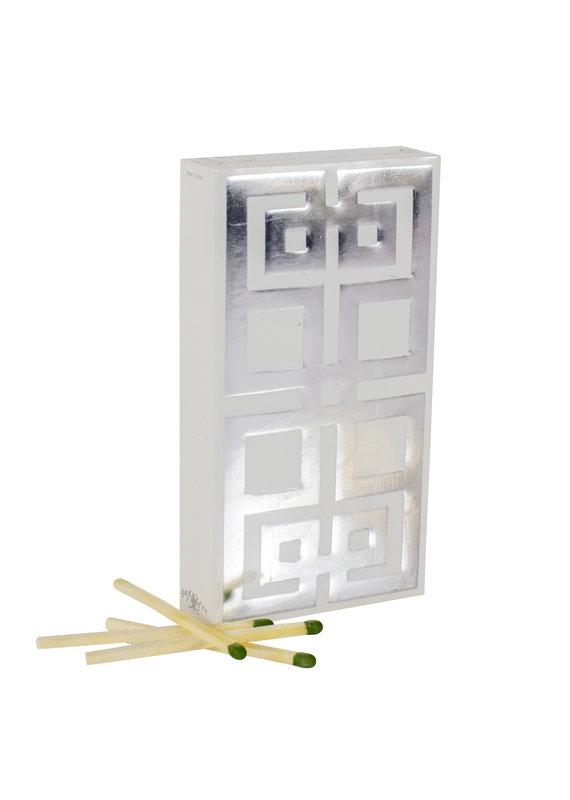 White & Silver Greek Key Boxed Matches