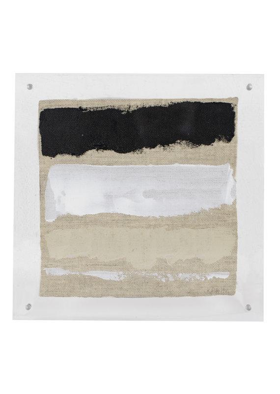 Black, Tan & White Framed Lucite Art