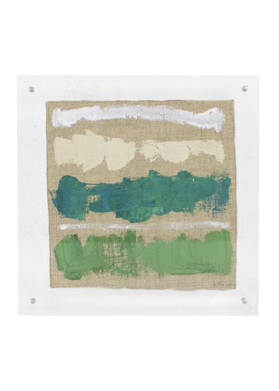 Green, White, Turquoise & Cream Framed Lucite Art