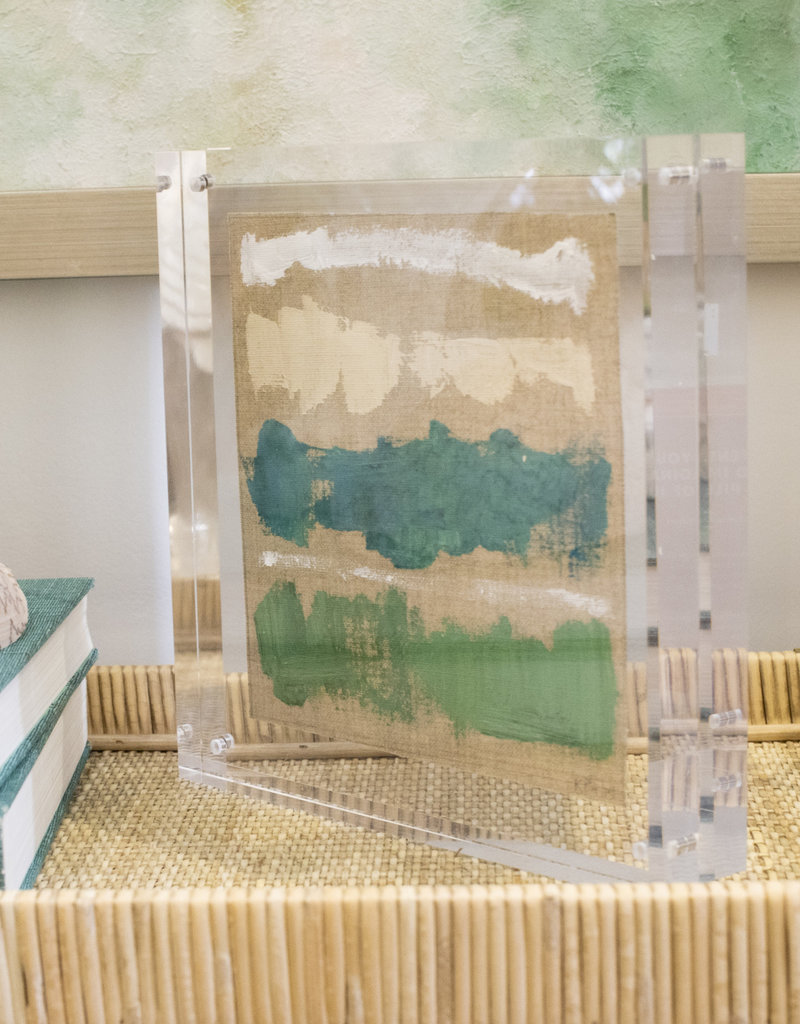 Green, White, Turquoise & Cream Framed Lucite Art