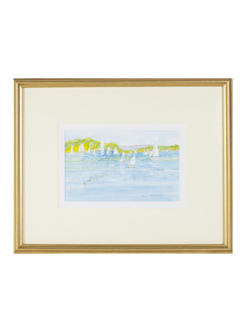Framed Southport Harbor Watercolor