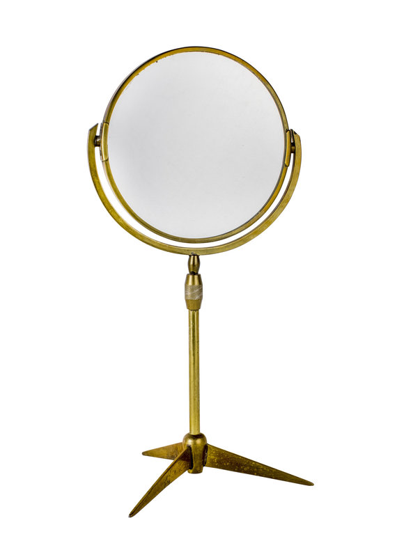 Vintage Brass Mirror on Stand