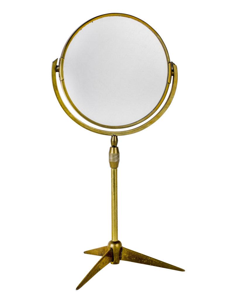 Vintage Brass Mirror on Stand