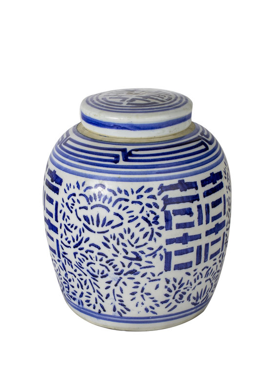 "Blue & White ""Happiness"" Lidded Jar"