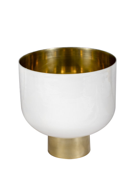 Footed White Enamel & Gold Planter