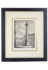 Vintage Framed French Obelisk Engraving - Antoninal