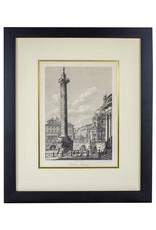 Vintage Framed French Obelisk Engraving - Trajana