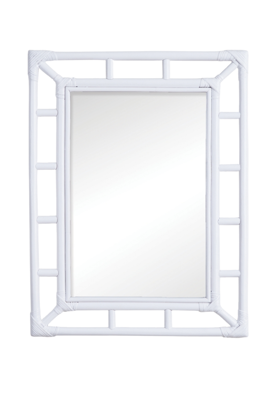 White Rattan Rectangular Mirror