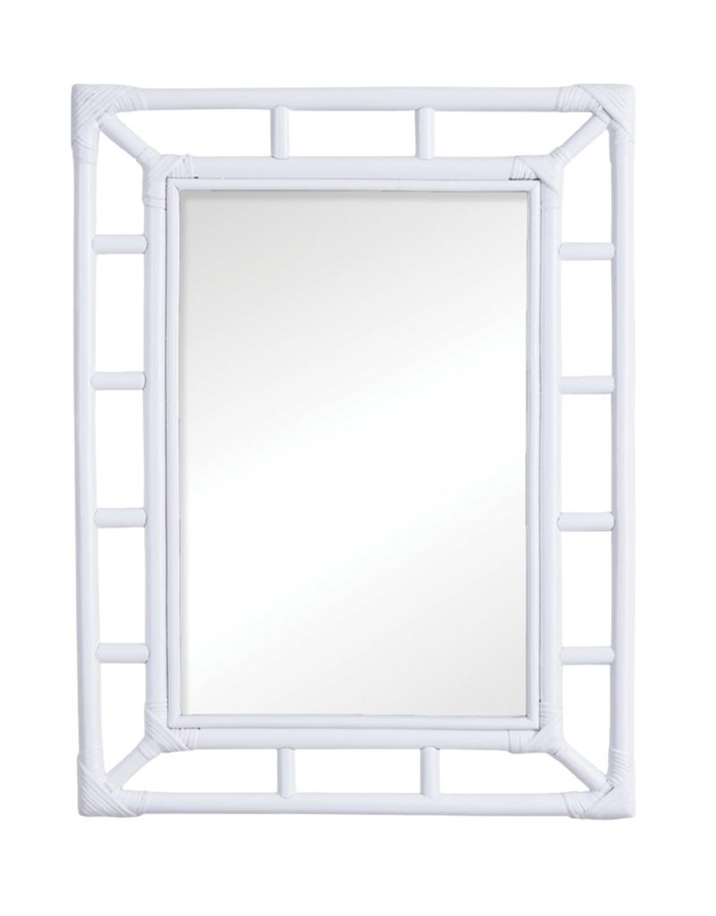 White Rattan Rectangular Mirror