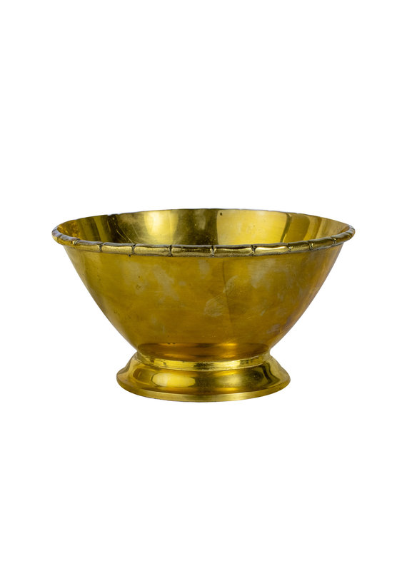 Vintage Brass Bowl with Bamboo Trim