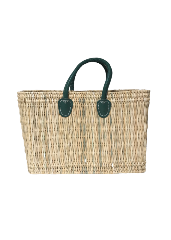 Green Medium Straw Shopper
