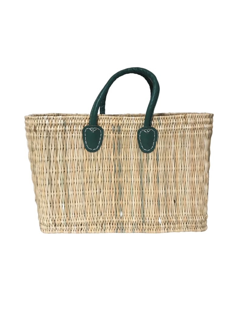 Green Medium Straw Shopper