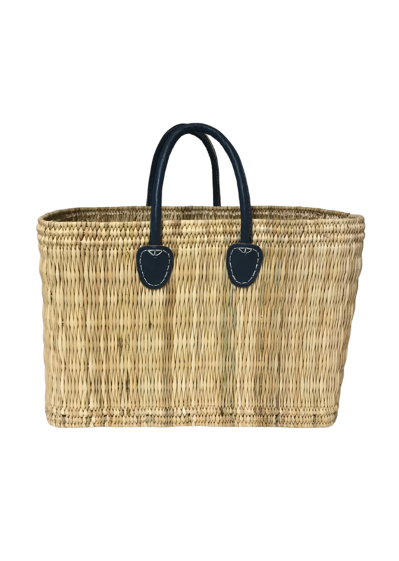 Navy Large Straw Shopper