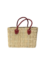 Red Mini Straw Shopper