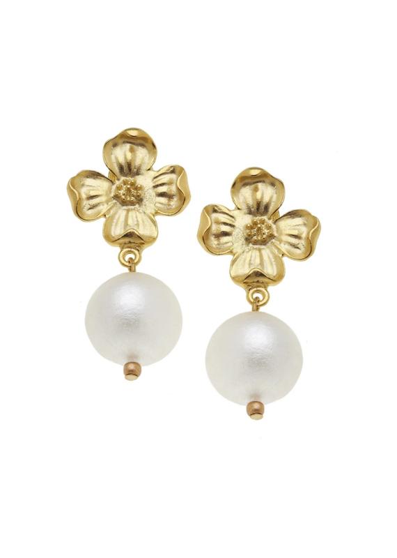 Dogwood Pearl Drop Earrings