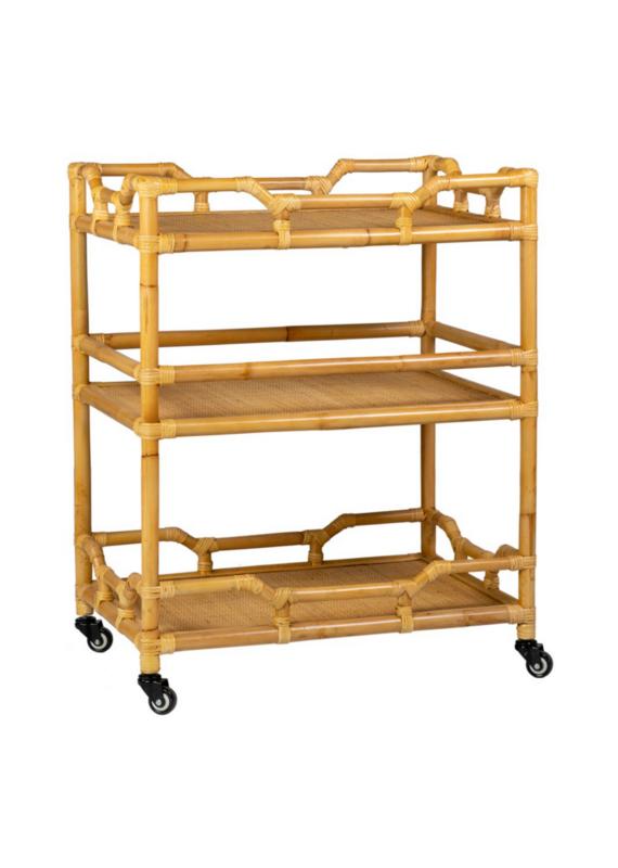 Rattan Rolling Bar Cart