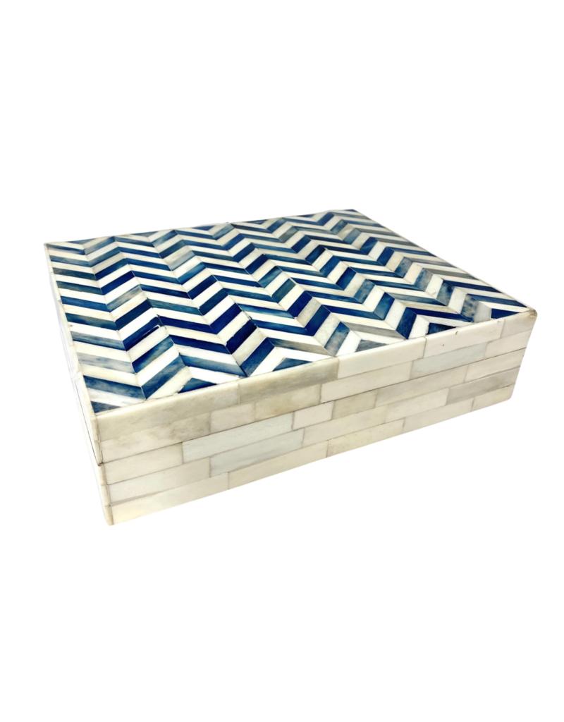 Ivory & Blue Chevron Bone Box