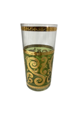 Vintage Set of 8 Culver Green & Gold Scroll Highball Glasses