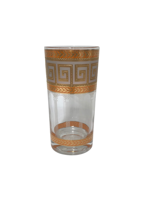 Vintage Set of 8 Culver Orange Greek Key Highball Glasses
