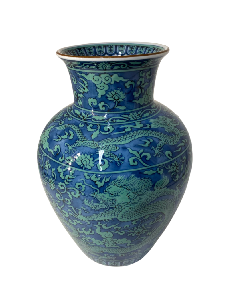Vintage Ceramic Blue & Green Dragon Vase