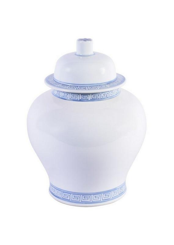 White Temple Jar With Blue Greek Key Trim
