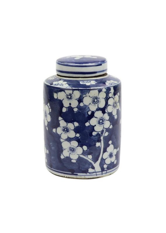 Blue & White Mini Cherry Blossom Tea Jar